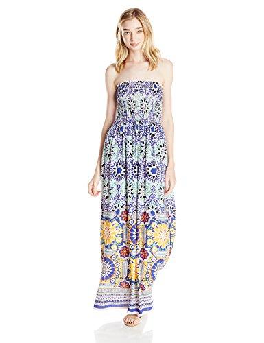 Angie-Womens-Blue-Printed-Smocked-Bodice-Maxi-Dress