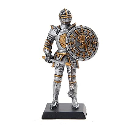 Amazon.com: 5 Inch Medieval Knight with Sword and Round Shield Statue Figurine: Home & Kitchen