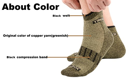 YingDi Copper Socks Moisture Wicking Anti-microbial Ankle Sport Socks Size L Green With Black Welt Pack of 4 pairs by yingDi (Image #1)