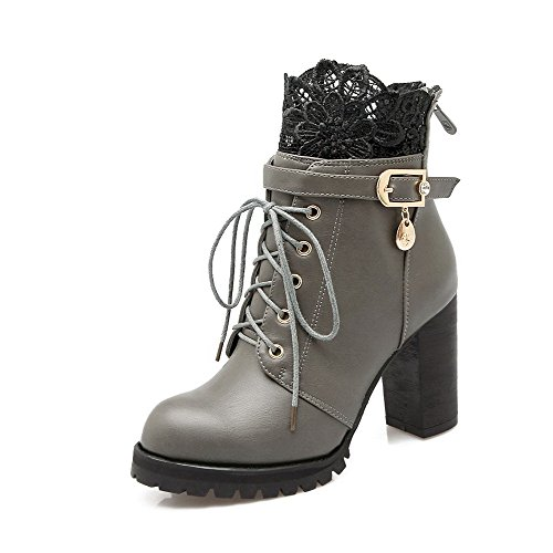 Allhqfashion Women's Soft Material Lace-up Round Closed Toe High-Heels Low-Top Boots Gray HxJRkSt5Qz
