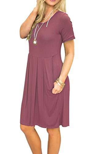 Dress Knee Mauve Loose Length with Sleeve Swing AUSELILY Pleated Pockets Casual Short Women's w06q46