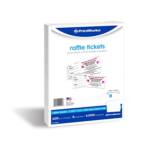 (PrintWorks Perforated Paper for Raffle Tickets, Coupons, and More, Tear-Away Stubs, 8.5 x 11, 24 lb, 8 Tickets Per Sheet, 500 Sheets, 4000 Tickets Total, White (04294-1) (2.125 x)