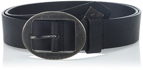 Armani Exchange Men's Leather Belt with Tonal Metal Accents, Black, 31