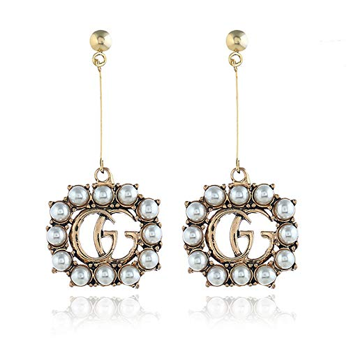 YIAI Crystal Bee Earrings for Women, Rhinestone Alloy Vintage Pearl Dangle Drop Earrings for Brides or Weddings Gifts (GG)