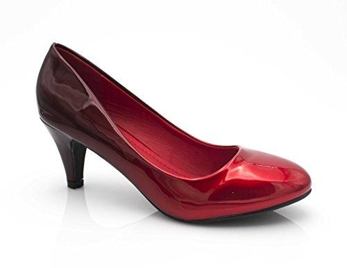 Lack 6CM Shoes Damenschuhe Pumps Rot Fashion Schwarz Rund Absatz Vorne Pumps Pfennigabsatz Damen Kleiner Schuhe Effekt Farbverlauf Bicolore ZEUnUgB