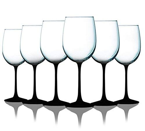Midnight Black Wine Glasses with Beautiful Colored Stem Accent - 19 oz. set of 6- Additional Vibrant Colors Available]()