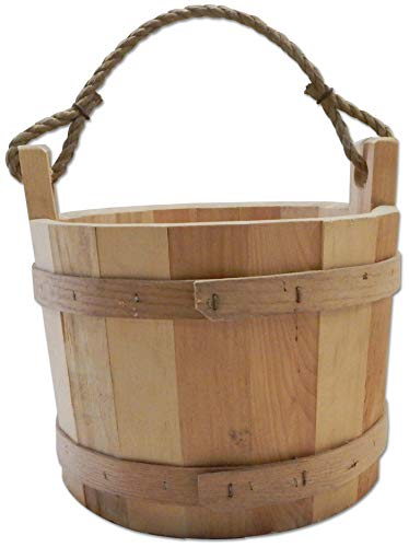 Country Wishing Well - Jamaica Cottage Shop, Inc. All Natural Wooden Rustic Wishing Well Bucket with Rope Strapping - for Storage and Decoration