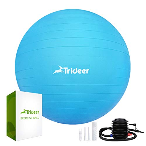 Trideer Exercise Ball (Multiple Color), Yoga Ball, Birthing Ball with Quick Pump, Anti-Burst & Extra Thick, Heavy Duty Ball Chair, Stability Ball Supports 2200lbs