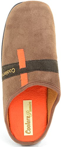 Men's Slip On Slippers / Mules with Memory Foam Insoles and Microsuede Upper Tan 0cLIP