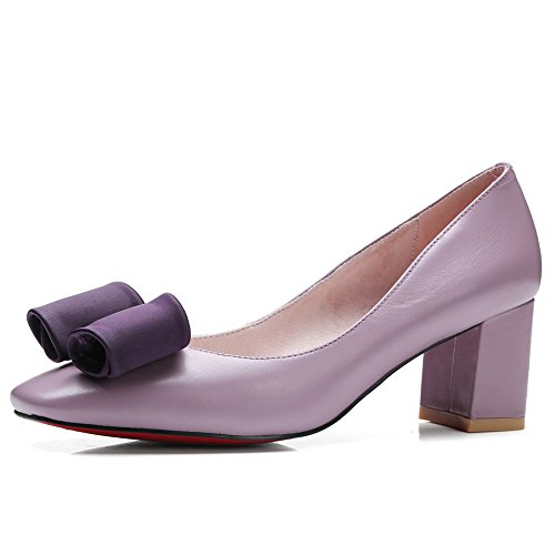 Nine Seven Cuero Moda Puntera Cuadrada Zapatos de Tacón Grueso con Lazo para Mujer Violeta