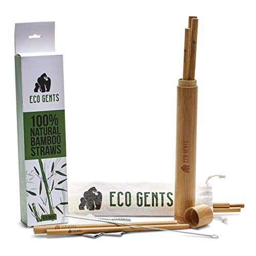 Natural and Organic Bamboo Straws | Set of 8, 8.5 Inch Reusable Straws | Biodegradable Straws with Bamboo Travel Case, Cloth Travel Bag and Cleaning System | Premium Eco-Friendly Straw Kit