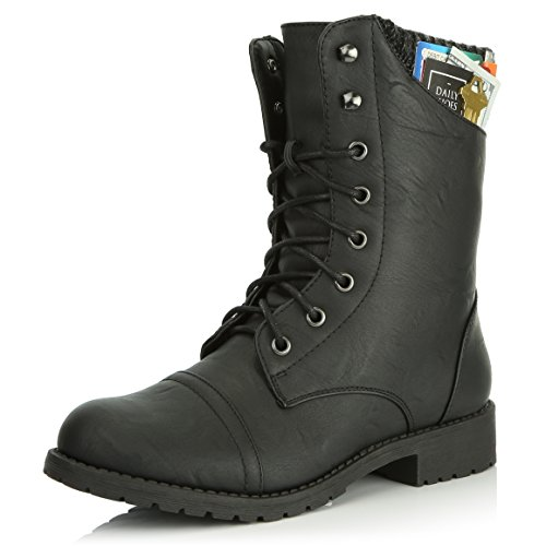 DailyShoes Womens Military Lace Up Buckle Combat Boots Sweater Ankle High Exclusive Credit Card Pocket, Black Pu, 12