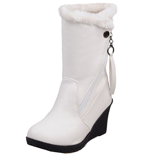 COOLCEPT Women Fashion Wedges High Heels Warm Lined Faux Fur Ankle Boots White PBKqr