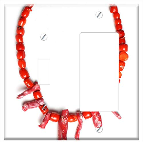 1-Toggle 1-Rocker/GFCI Combination Wall Plate Cover - Red Coral Necklace Beaded Bead Ocean Natural