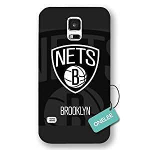 Onelee(TM) - NBA Team Brooklyn_Nets Logo Samsung Galaxy S5 Case & Cover - Black Frosted
