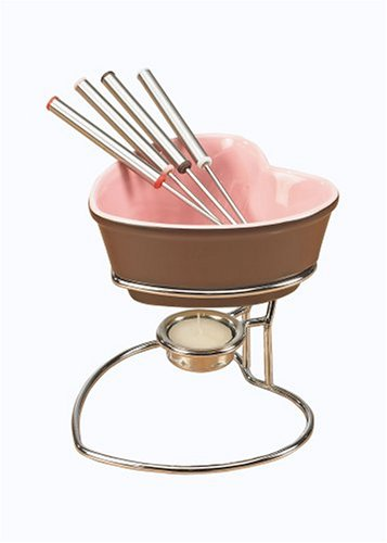 Chantal Heart Fun Fondue Set, Chocolate with Pink Interior
