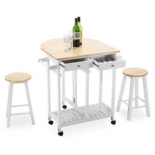 4 Family Kitchen Island Cart Trolley 2 Stools, Portable Rolling Storage Table with 2 Drawers