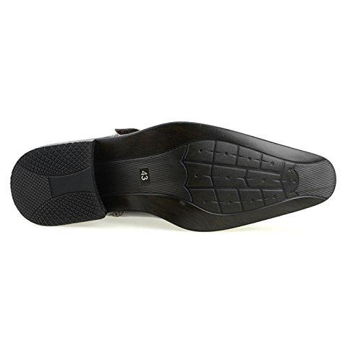 MM / ONE Herren Monkstrap Oxford Schuh Wasserabweisend Plain Toe Slip-on Medaillon Schwarz Braun Dunkelbraun Mpt170-1 Dunkelbraun