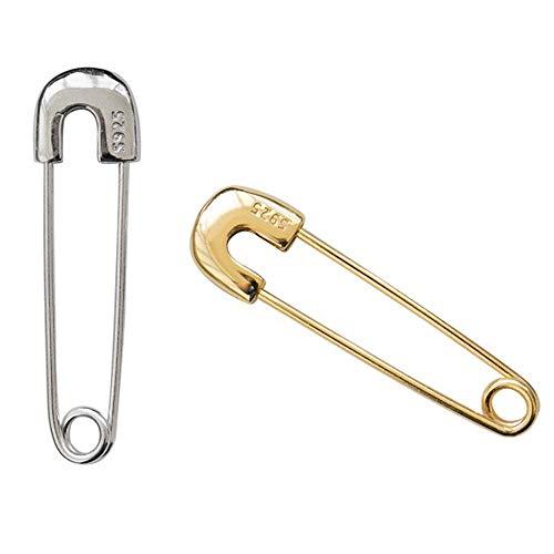 (YRY S925 Minimalist pin Earrings Sterling Silver Hip hop pin Earrings Female Earrings Jewelry Gift Tide Male (Silver-S925))