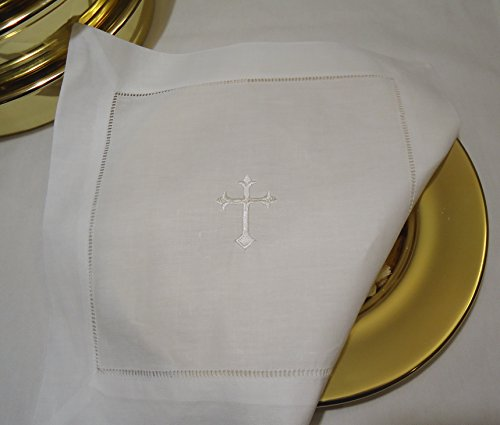 Integrity Designs White Linen Altar Cloth White Cross Embroidery Altar Cross