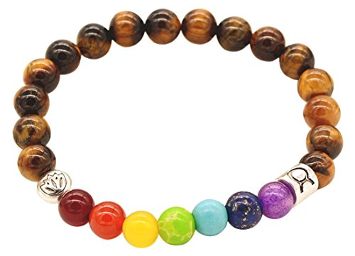 Natural Beads Shells Wood (Coolzdt Hot Sell European Style Fashion Bracelet Rainbow Beads Natural Stone Metal 8MM Natural Elastic Bracelets (Rainbow Bracelet))