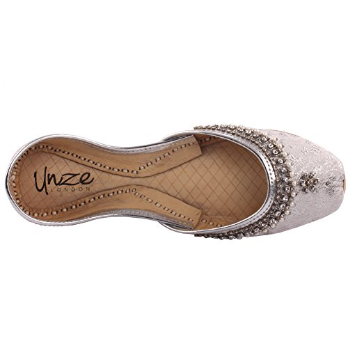 Unze Damen Damen Traditionelle Ashoka Kundan Arbeit Indischen Casual Handgefertigten Leder Flachen Khussa Pumpen Hausschuhe Schuhe Größe UK Größe 3-8 - LS-629 Silber