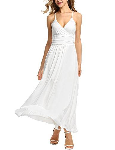 Bohemian Sleeveless (Beyove Women's Bohemian Sleeveless Maxi Dress V neck Long Summer Beach Maxi Dress (White/M))
