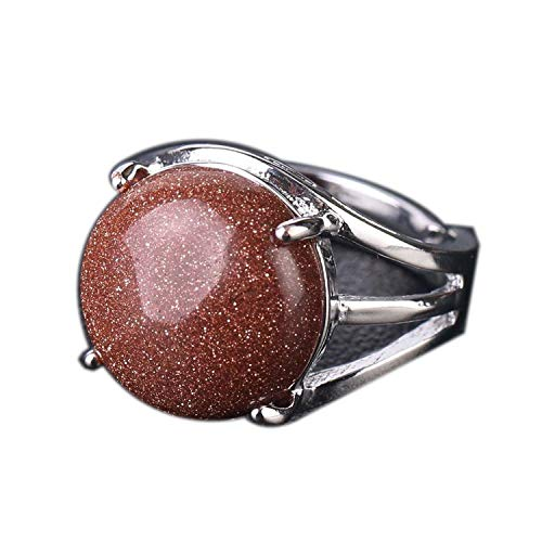 Unique Ring for Women Natural Stone Round Beads Casual Finger Rings Purple Crystal Quartz Silver Color Party Jewelry,Brown - Jasper Silver Sterling Adjustable Ring