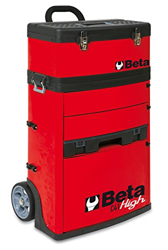 Tool Box Beta (BETA TOOLS MOBILE TOOL TROLLEY WITH 3 SLIDE-OUT DRAWERS AND REMOVABLE TOP BOX WITH CARRY HANDLE - RED)