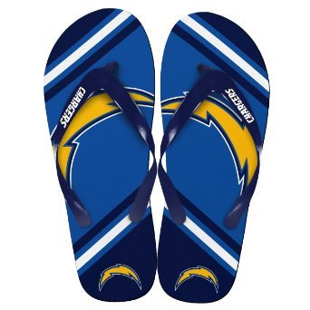 San Diego Chargers Official NFL Unisex Flip Flop Beach Shoes Sandals slippers size Small by FOREVER