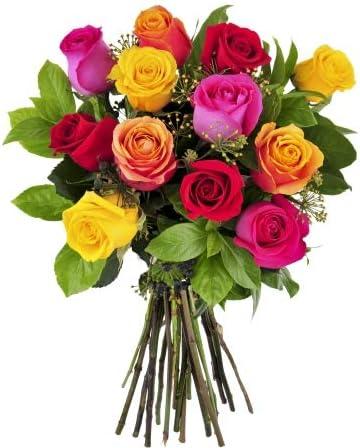 Ramo 12 rosas de colores variadas - Flores naturales San Valentín - Entrega 24h con tarjeta dedicatoria gratis