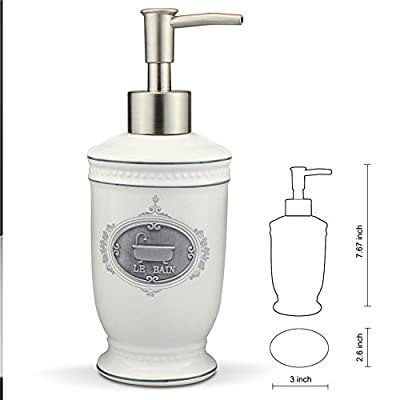 Singoracer Matt White Ceramic Bath Accessory Set, Soap Dispenser Pump, Toothbrush Holder, Tumbler, Soap Dish,4 Pieces with LE BAIN Steel Decoration - COMPLETE BATH SET: Comes with a Hand Soap Dispenser, Toothbrush Holder, Soap Dish and Tumbler. CRAFTED QUALITY: The pump dispenser is designed not to clog or break. The holder is big enough for 4 PCS toothbrushes.4 PCS with LE BAIN Steel Decoration. SPA LIKE BEAUTY: These stunning pieces provide a luxurious feel and aesthetic, yet they remain affordable and practical. Functional as they are, they will add a beautiful, elegant touch to your home's decor. - bathroom-accessory-sets, bathroom-accessories, bathroom - 41JS8cvcPgL. SS400  -