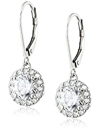 Platinum Plated Sterling Silver Leverback Drop Earrings Set with Round Cut Swarovski Zirconia