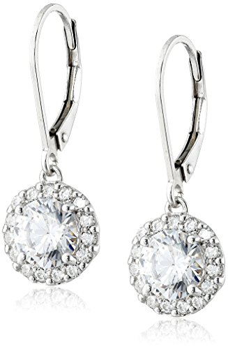 Platinum Plated Sterling Silver Lever back Drop Earrings set with Round Cut Swarovski Zirconia (3 cttw)