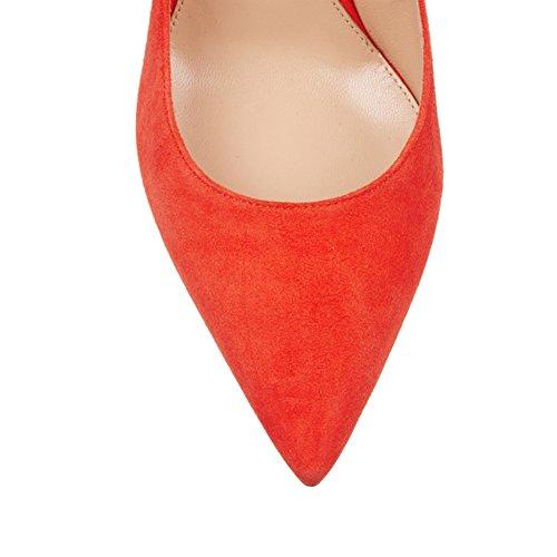 Talons Soiree Hauts Escarpins à Chaussures Bout Pointu Femme Orange EDEFS Bureau Classique fermé xdIPaqXX