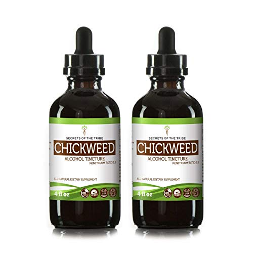 Chickweed Tincture Alcohol Liquid Extract, Organic Chickweed (Stellaria Media) Dried Above-Ground Parts (2x4 FL - Chickweed Herb Extract Liquid