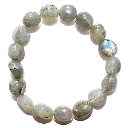 Charged Labradorite Crystal Bracelet Tumble Polished Stretchy Healing Energy/Transformation/Clarity Reiki by ZENERGY GEMS