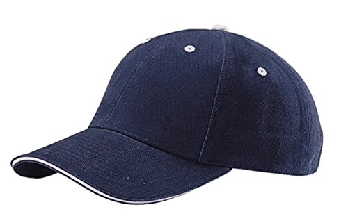 Cotton Sandwich Brushed Twill (G Men's Low Profile Brushed Cotton Twill Adjustable Cap with Sandwich Bill (Navy Blue White))