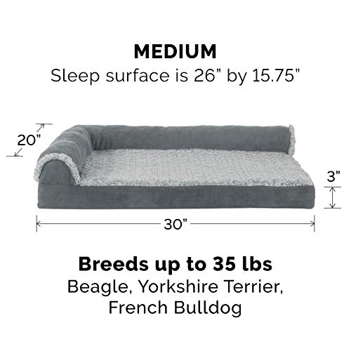 Furhaven Pet Dog Bed - Deluxe Orthopedic Two-Tone Plush and Suede L Shaped Chaise Lounge Living Room Corner Couch Pet Bed with Removable Cover for Dogs and Cats, Stone Gray, Medium
