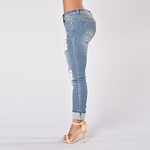De Les arnaquer Dcontract Trous Bleu TieNew Jeans Marin se Femmes faire Taille Haute Est classique Long Dchir Skinny Rdw1zqH