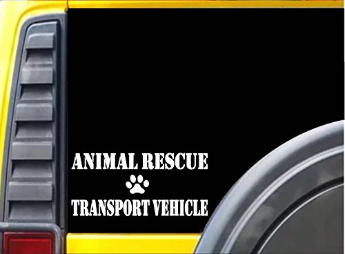 - Animal Rescue Transport Vehicle L030 8 Inch paw heartbeat dog decal