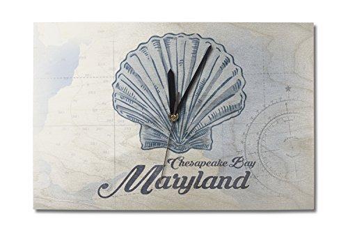 Lantern Press Chesapeake Bay, Maryland - Scallop Shell - Blue - Coastal Icon (10x15 Wood Wall Clock, Decor Ready to Hang)