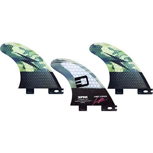 3D Fins Jamie O'Brien Channel Tip Tech Camo Thruster 3DF2 Base - Set of 3 - Brien Surfboards O