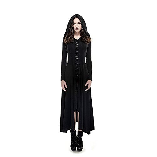 PUNKRAVE Women's Soft Knitted Gothic Dress Asymmetrical Split Long Dress with Hoodie Blacks