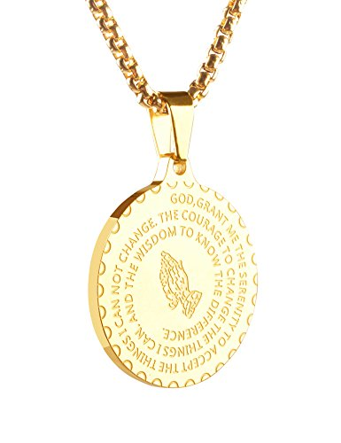 Bible Verse Prayer Necklace Christian Jewelry Stainless Steel Praying Hands Coin Pendant (Gold Color) (Prayer Bible Charm)