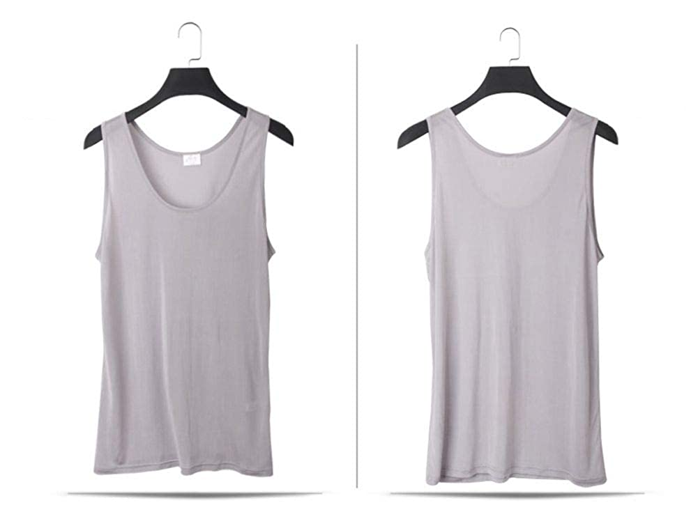 Forever Angel Mens 100/% Silk Basic Gym Stretchy Tank Top Training Shirt
