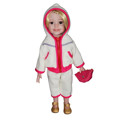 [HappyBB Baby Doll Clothes Accessories Sets Fits 16 inches American Girl Doll - Red Edge White Cotton-padded Suits and Bonus] (2pc Child Cheerleader Costumes)