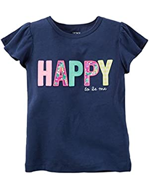 Carters Baby Clothing Outfit Girls Happy Flutter-Sleeve Tee T-shirt Navy