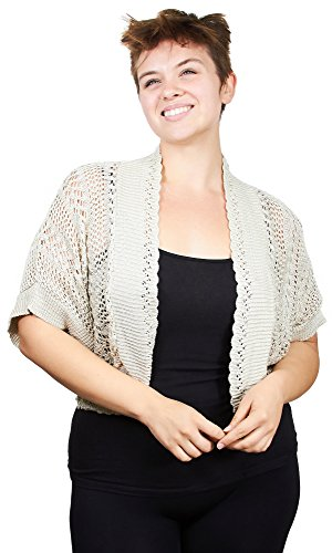 Knit Minded Plus Size Womens Ladies Stone Grey Brown Crochet Topper Open Front Cardigan Size 3X