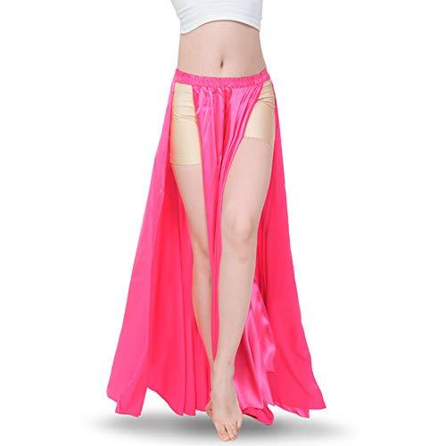 ROYAL SMEELA Belly Dance Skirt Tribal Two Side Slit Skirt Belly Dance Costume for Women Maxi Skirt Satin Dancing Skirts Hot Pink